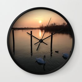 Sunset Swim Wall Clock
