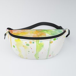Watercolor Rainbow Splatters Abstract Texture Fanny Pack