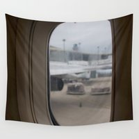 airplane Wall Tapestries featuring Airplane window by RMK Photography