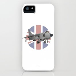 Sea Harrier Jet Fighter with UK Flag iPhone Case