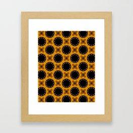 Festive Black and Gold Autumn Floral Mandala Fractals - Moroccan style Framed Art Print