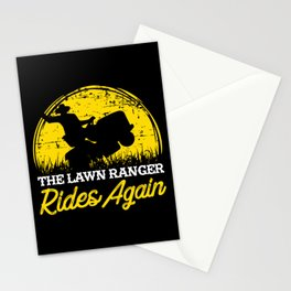The Lawn Ranger Rides Again - Lawn Mowing T-Shirt Stationery Cards