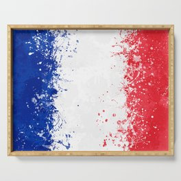 France Flag - Messy Action Painting Serving Tray