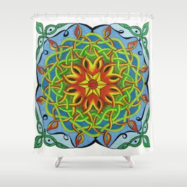 Fire Renewal Mandala Celtic Knot Mandala Art Shower Curtain