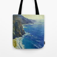 big sur Tote Bags featuring Big Sur California by Michael Creese