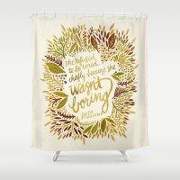 zelda Shower Curtains featuring Zelda Fitzgerald – Fall Palette by Cat Coquillette