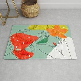 femme fleur line art abstract Rug