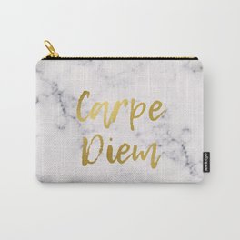Marble Carpe Diem Gold Carry-All Pouch