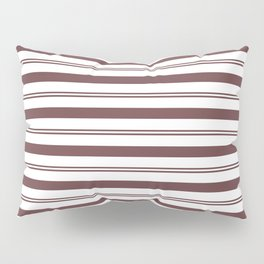 Pantone Red Pear and White Stripes, Wide and Narrow Horizontal Line Pattern Pillow Sham