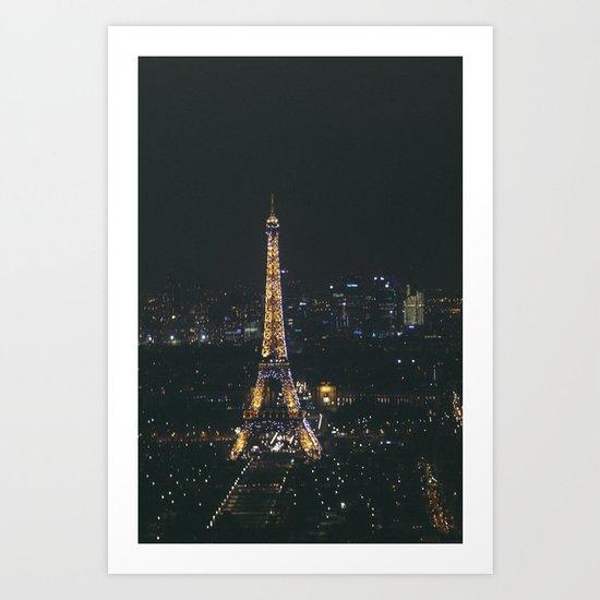 Eiffel Tower Light Show Art Print