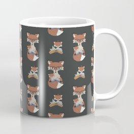 Cozy Fox Mom Reading to Baby Fox Stripe Coffee Mug