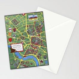 HARVARD University map CAMBRIDGE Stationery Cards