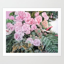 A LIFE TIME COMMITMENT - Pink Rose And Anthurium - Original Fine Art Floral painting by HSIN LIN Art Print
