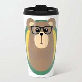 Nerd Brown Bear with cirlce Travel Mug