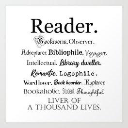 Reader Description Art Print