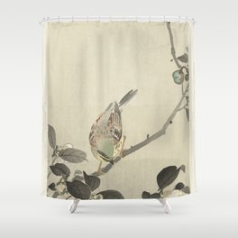Bunting on blossom branch - Ohara Koson (1900 - 1930) Shower Curtain