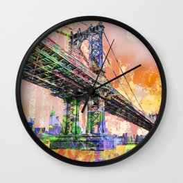 New York City Manhattan Bridge Gold Wall Clock