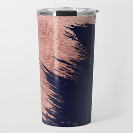 Navy blue abstract faux rose gold brushstrokes Travel Mug