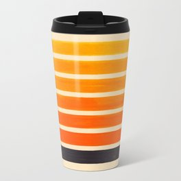 Orange & Black Geometric Pattern Metal Travel Mug
