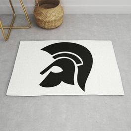 Ancient Spartan Soldier Helmet Black Rug