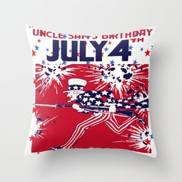 Star Studded Uncle Sam's Birthday 4th July Throw Pillow