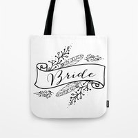 bride Tote Bags featuring Bride by Alexis Wright