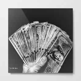 Money - Black And White Metal Print