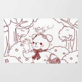 The Adventures of Bear and Baby Bear-Picking Berries Rug