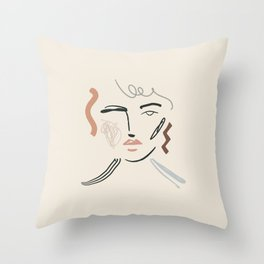 Collage Face Throw Pillow