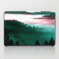 mountains iPad Cases featuring Misty Mountains Morning : Magenta Mauve Teal by 2sweet4words Designs