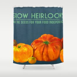 Grow Heirlooms - tomato painting Shower Curtain