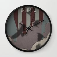 bioshock infinite Wall Clocks featuring Bioshock Infinite - One Nation Over God by s2lart