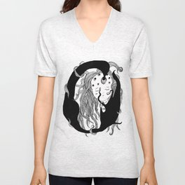 Girl with holes in her head Unisex V-Neck