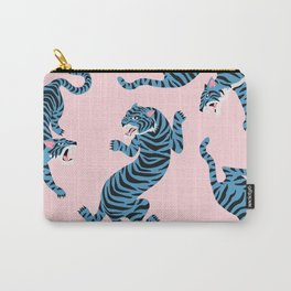 Pastel Pink & Blue Tiger Pattern Carry-All Pouch