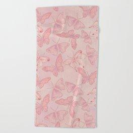 Butterfly Pattern soft pink pastel Beach Towel