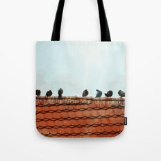 Birds on a Rooftop Tote Bag