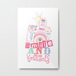 Smile and be Yourself - Pastel Camera Metal Print