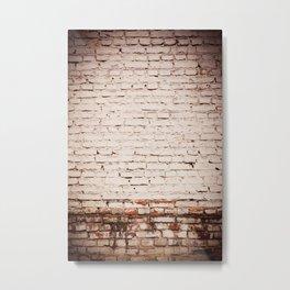 White bricks obsolete wall abstract Metal Print