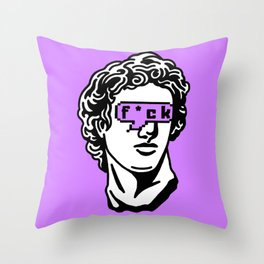 Caesar's Disappointment on Purple Background Throw Pillow