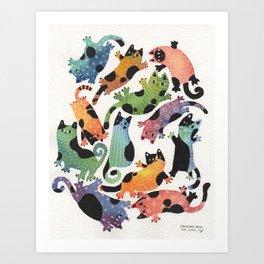 12 cats Art Print