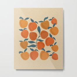 Peaches fruits with leaves mid century 4 Metal Print