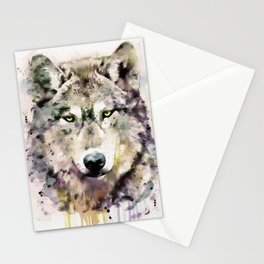 Wolf Head Watercolor Portrait Stationery Cards