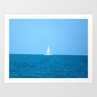 sailboat Art Prints featuring Sailboat by MorganLoriPhoto