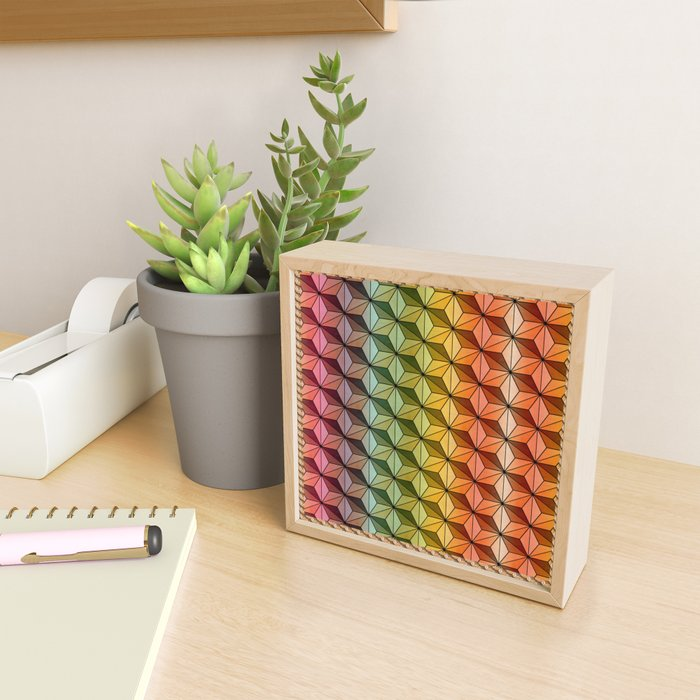 Wooden Asanoha Colorful Framed Mini Art Print