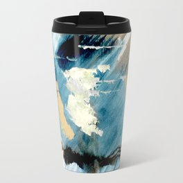 You are an Ocean - abstract India Ink & Acrylic in blue, gray, brown, black and white Travel Mug