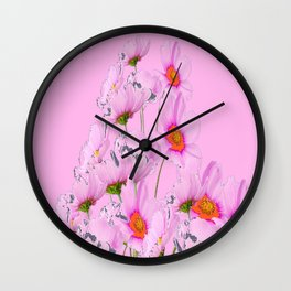 PASTEL FUCHSIA PINK COSMOS FLOWERS  ON PINK COLOR Wall Clock