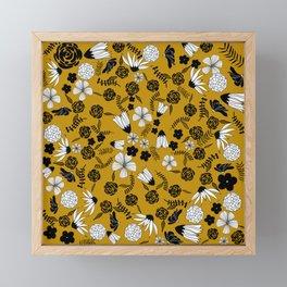 Black and white flowers on gold Framed Mini Art Print