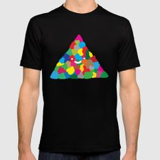 happy colour triangle Black Mens Fitted Tee MEDIUM