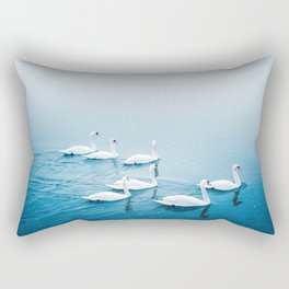 A herd of white swans rests on the foggy lake. Peaceful nature animals photo Rectangular Pillow