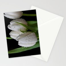White Tip Tulips Stationery Cards